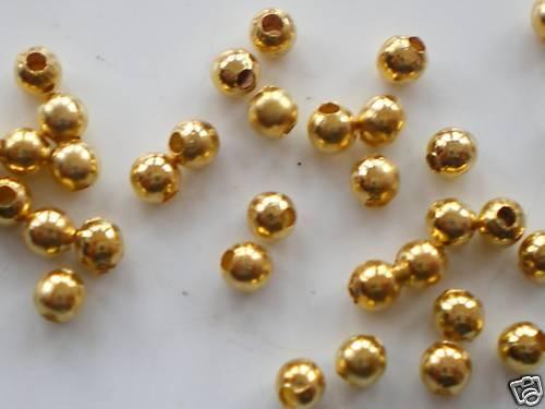 200 x 4 mm Plaqué Or Rond Espaceur De Perles