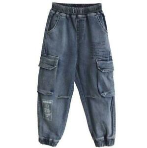 Kids-Boys-Denim-Jeans-Loose-Cargo-Pants-Childrens-Pocket-Casual-Cropped-Trousers