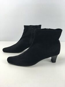 WOMENS-BHS-WILFORD-UK-8-BLACK-FAUX-SUEDE-SIDE-ZIP-MID-HEEL-SMART-ANKLE-BOOTS