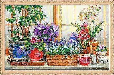 Puntada cruzada contada Kit Riolis-alféizar de la ventana con flores