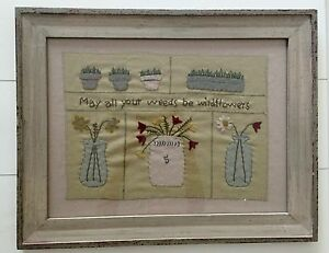 Primitive Farm House Shabby MAY ALL YOUR WEEDS Framed Stitchery Picture Finished
