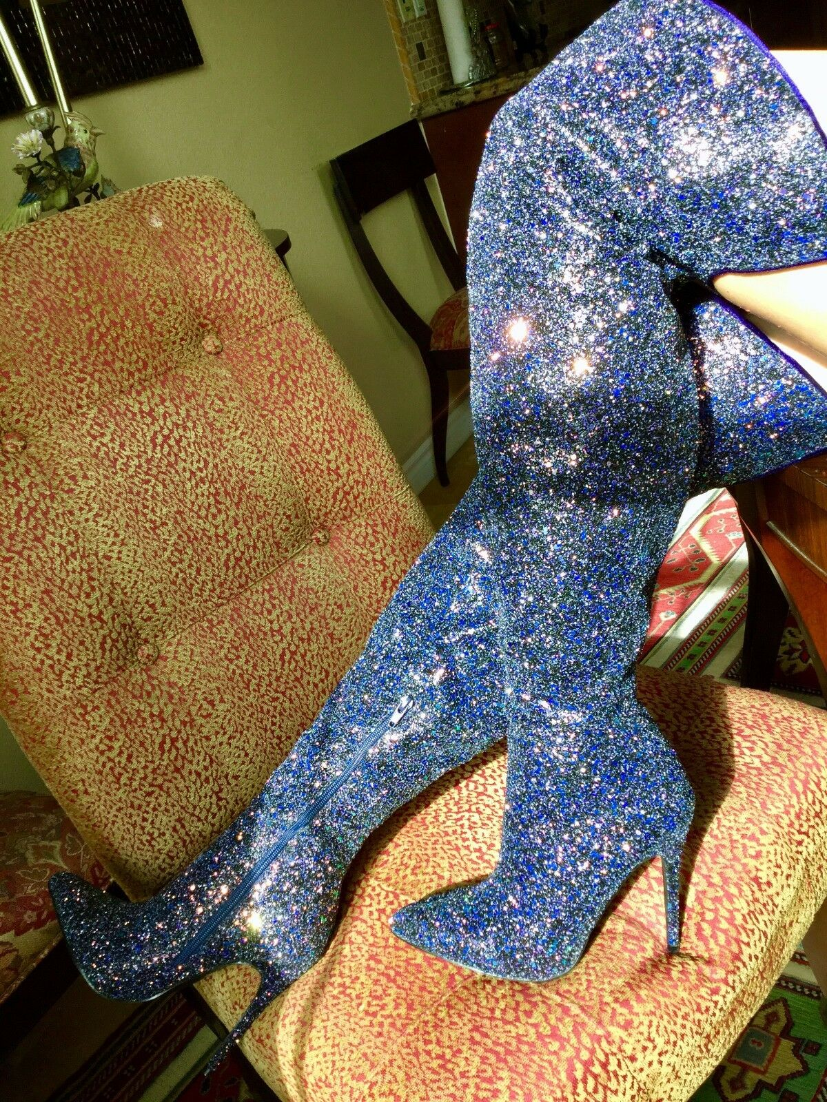 Pointy Toe Over The Knee Thigh High Heels Stiletto Sparkle Sparkle Sparkle Glitter Dress Stiefel 410cbf
