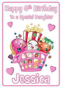 Shopkins Personalised A5 Birthday Card Daughter Niece
