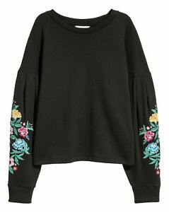 H-amp-M-Trend-black-floral-embroidered-sweatshirt-jumper-UK-size-XS-8-NEW