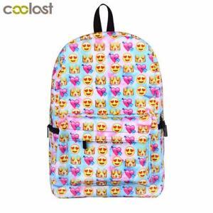5ce8c0c06a Image is loading Teenage-Girls-Backpack-Unicorn-Emoji-Print-School-Bag-