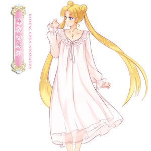 Sailor-Moon-Princess-Serenity-Cosplay-Pajamas-Dress-Sleepwear-Nightdress-New