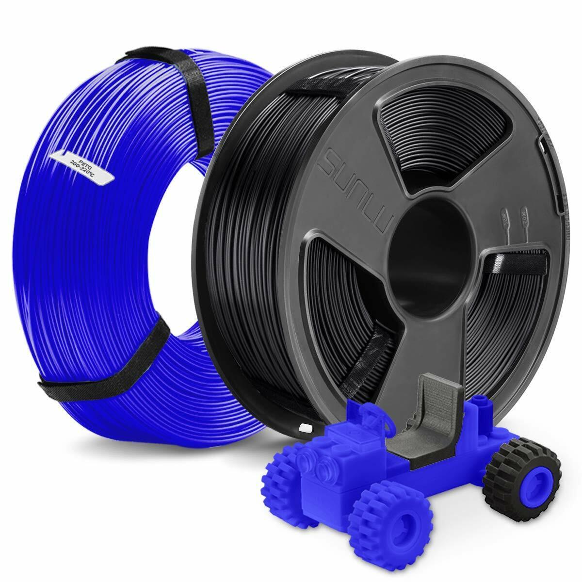 2kg 1.75mm PETG 3D Printer Filament, Tolerance +/- 0.02 mm, Black and Blue