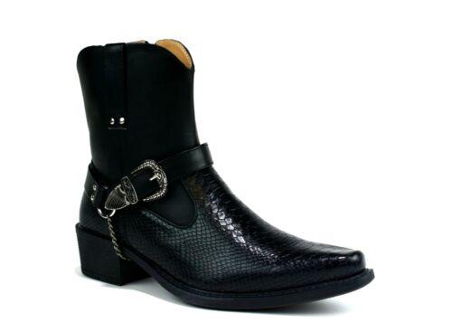 Men//Gents Cuban Heel Rubber Sole Buckle Chain Smart Snake Skin Cowboys Boots