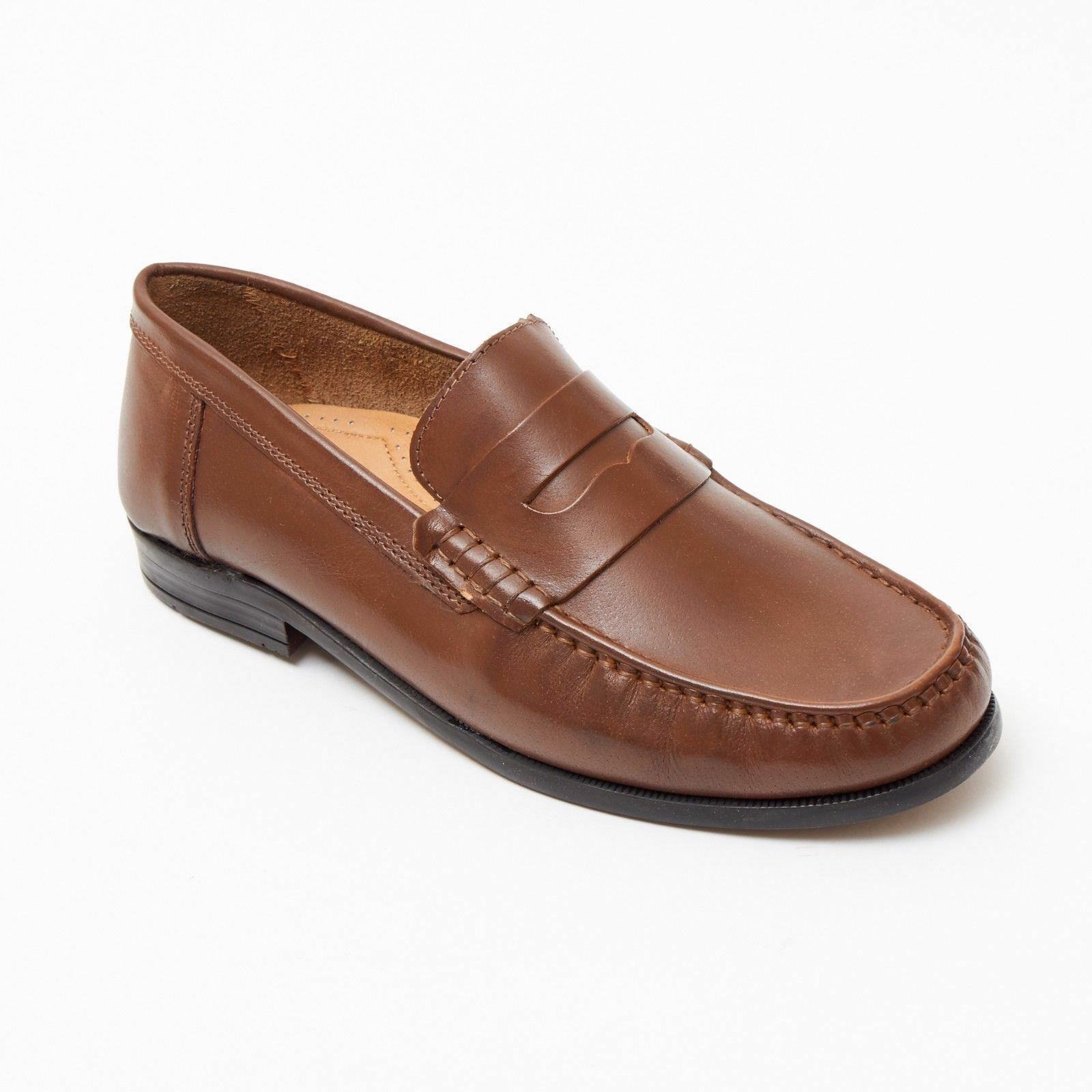 Lucini Formal Men Tan Brown Leather Moccasin Heels shoes Slip On Casual Loafer