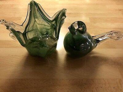 2 Alte Briefbeschwerer Paperweight Murano Glas Grün Waren Jeder Beschreibung Sind VerfüGbar