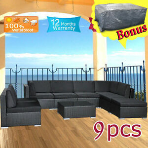 Wicker-Outdoor-Furniture-Lounge-Setting-Rattan-Garden-Sofa-Couch-Indoor-Set-9pcs