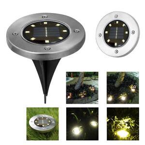 8-LED-luz-de-energia-solar-enterradas-bajo-tierra-Lampara-al-aire-libre-Camino-Camino-Jardin-Terraza