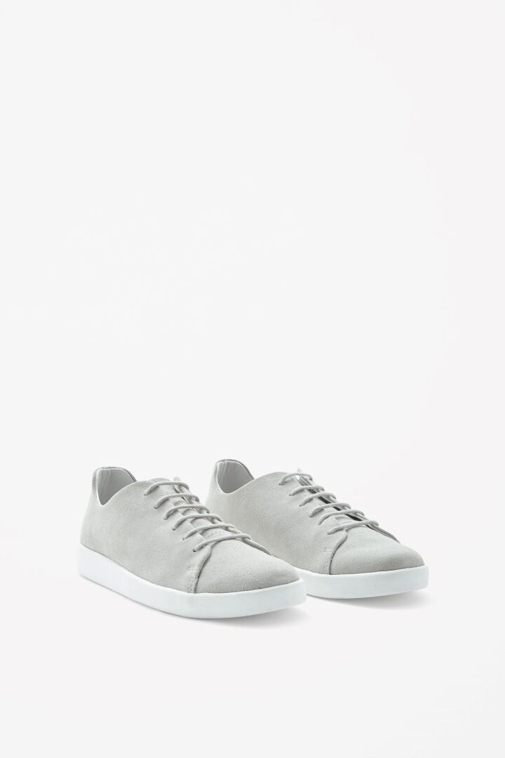 COS Lace Up Suede Sneaker Light Grey Size 38