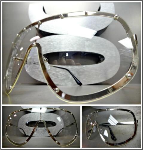 Überdimensional Retro Schild Style Durchsichtige Linse Sonnenbrille Silber Mode
