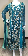 Indian Pakistani Designer Salwar Kameez Party Blue Bridal Gown Embroidery , M