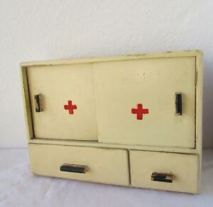 Antique-vintage-Wooden-Medicine-Apothecary-Wall-Cabinet-Chest-Cupboard