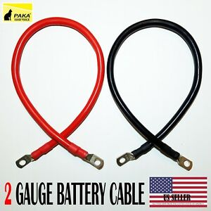 """2 AWG Gauge  5//16/"""" Lug Battery Cable Inverter Cables Solar 1 FT Car,Golf RV"""