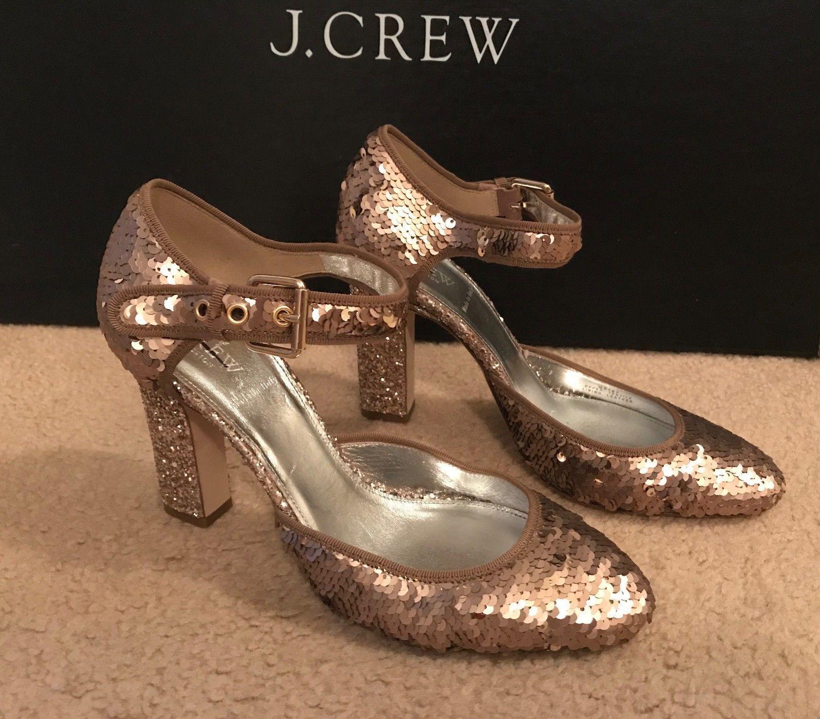J.CREW MARY JANE SEQUIN PUMPS SIZE 8.5M BRONZE PINK G8167