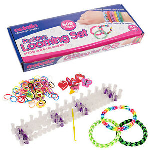 600-Colourful-Rainbow-Rubber-Loom-Bands-Bracelet-Making-Kit-Gift-Set-Friendship