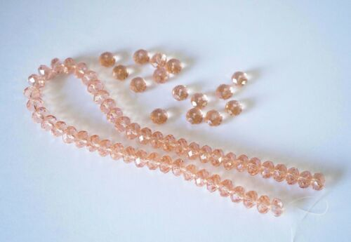 25 Crystal Rondelle Abacus Glass Beads  Peach Pink 8mm x 6mm