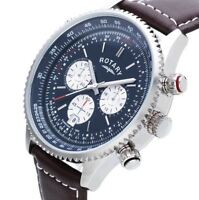 Rotary Men's Gs03642/05 Chronograph Swiss Brown Leather Strap Watch -