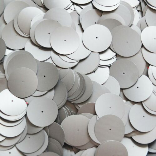 Made in USA 20mm Sequins Center Hole Silver Matte Silk Frost