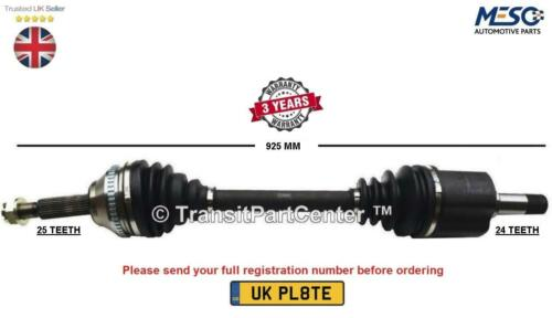 DRIVE SHAFT AXLE FITS FOR PEUGEOT 307 PARTNER 1.6 2.0 2000 ON RIGHT HAND SIDE