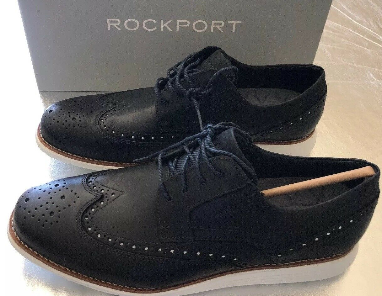 Rockport Uomo's Total Motion Sports Dress wing Tip Navy Taglia 10 New With Box  140
