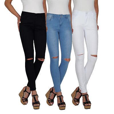 Kenntnisreich Damen High Waist Stretch Hochschnitt Skinny Röhren Jeans Hose Risse Übergröße E2 Durch Wissenschaftlichen Prozess