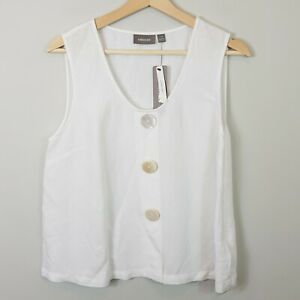 SUSSAN-Womens-White-Linen-Blend-Top-NEW-Size-AU-10-or-US-6