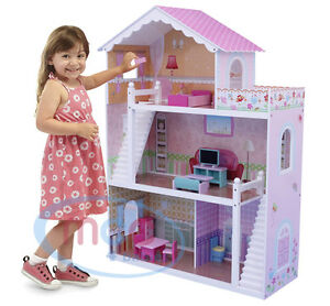 MCC® Wooden Kids Doll House With Furniture & Staircase Fits Barbie Dollhouse 784672553520