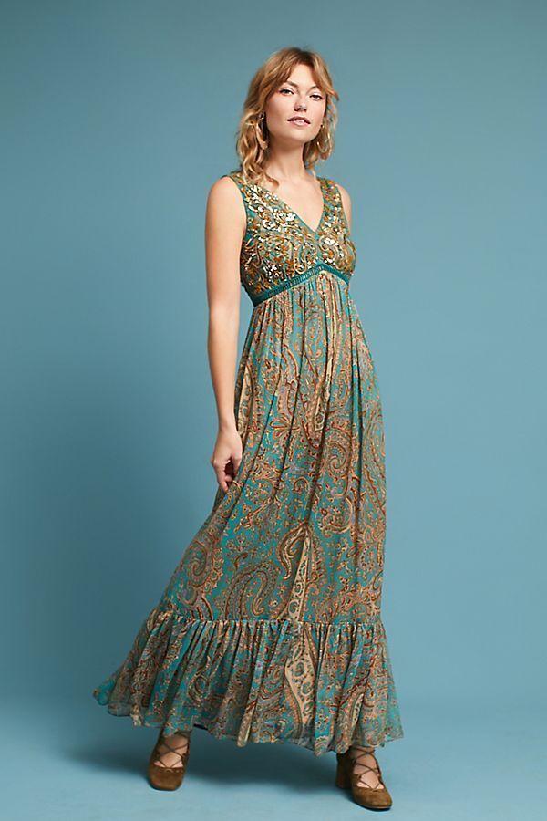NWT ANTHROPOLOGIE RANNA GILL Beaded Paisley Maxi Dress Größe 2 4 (Turquoise)