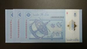 RM1 Zeti Polymer Nice Low Number 202 3 Pieces (UNC No Foxing)