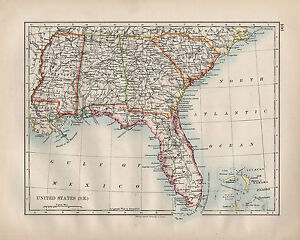 1902 VICTORIAN MAP ~ UNITED STATES SOUTH EAST FLORIDA ALABAMA ...
