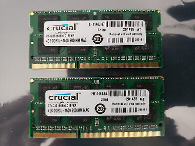 Crucial Apple iMac Macbook 4GB DDR3 1600 PC3-12800 SODIMM Memory Ram CT4G3S160BM