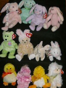 Ty Beanie Babies Easter Themed Bears, Bunnies, Ducks, Chicks and Lambs New