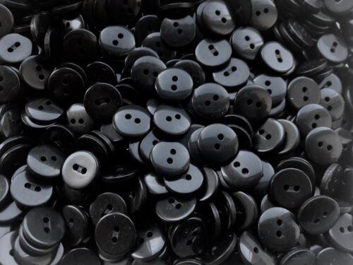 J67 Pequeño 15mm 24L Negro Calidad 2 Agujero Botones Botón Craft Chaqueta de costura