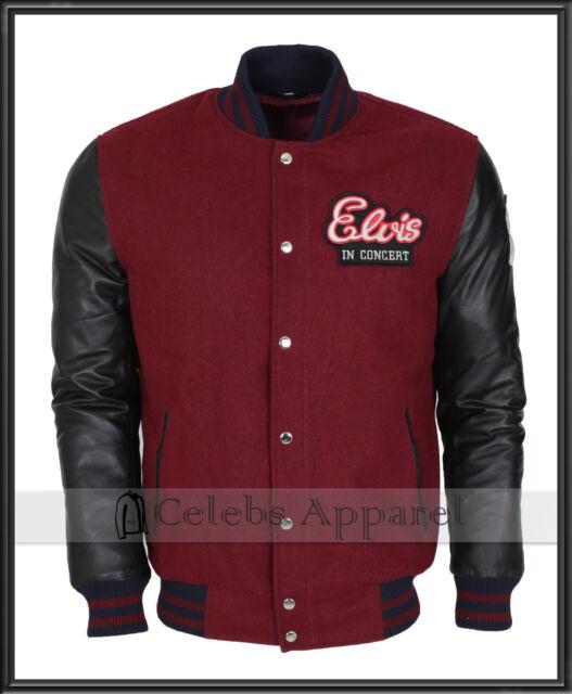 7d624955e Elvis Presley In Concert Rockstar Red & Black Wool Leather Jacket Costume