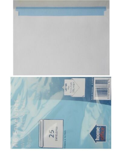 A6 White Peel And Seal Envelopes Home Office 114mmx162mm