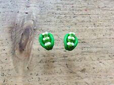 Pea Pod Earrings Handmade Cute Gift Peas Birthday Easter Studs Nickel Free