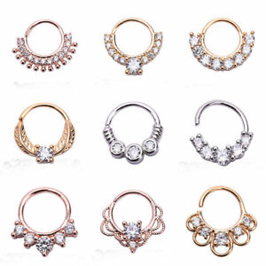 New-8mm-Gem-Septum-Clickers-Hinged-Segment-Rings-Tragus-Daith-Cartilage