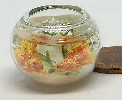 Escala 1:12 cola de un solo ventilador peces de colores en un tazón de vidrio tumdee casa de muñecas Acuario