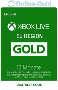 12 Monate XBOX Live Gold Mitgliedschaft Code Microsoft ONE 360 - EU Region ONLY