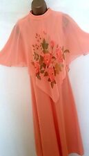 VINTAGE 70's PRETTY APRICOT MAXI DRESS. FLOATY FLORAL CAPELET TOP SIZE 10/12