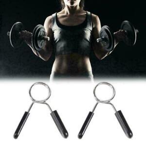 2-STUCKE-Hantelstangenklemmen-Clips-Hantelstange-Kragen-Federschloes-Gewicht-F9Y5