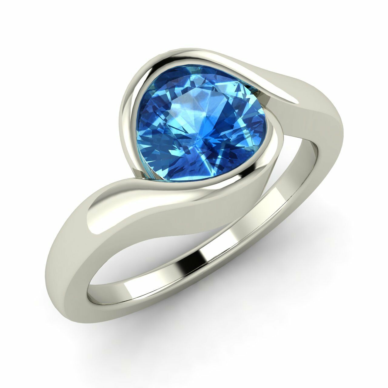 Certified Round Cut 1.20 Cts bluee Topaz 14K White gold Solitaire Engagement Ring