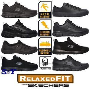 Skechers-Womens-Relaxed-Fit-Slip-Resistant-Black-Work-Shoes-Sneakers-Lightweight