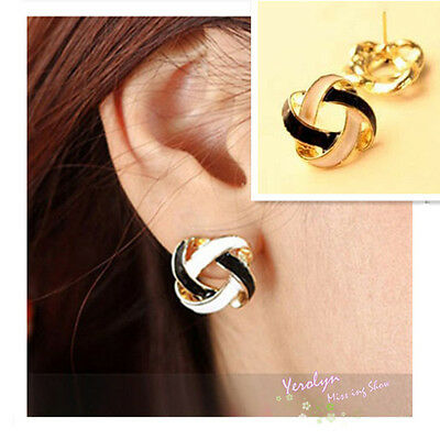 European Retro Simple Hollow Out Black White Double Color Stud Earrings Hot