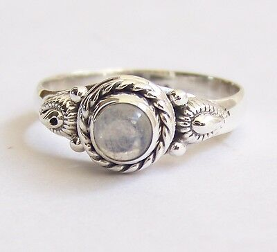 925 Sterling Silver Ethnic Ring 5mm Moonstone Handmade - Mysterious