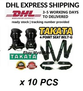"""TAKATA BLACK 4 Point Snap-On 3"""" With Camlock Racing Seat Belt Harness x 10"""